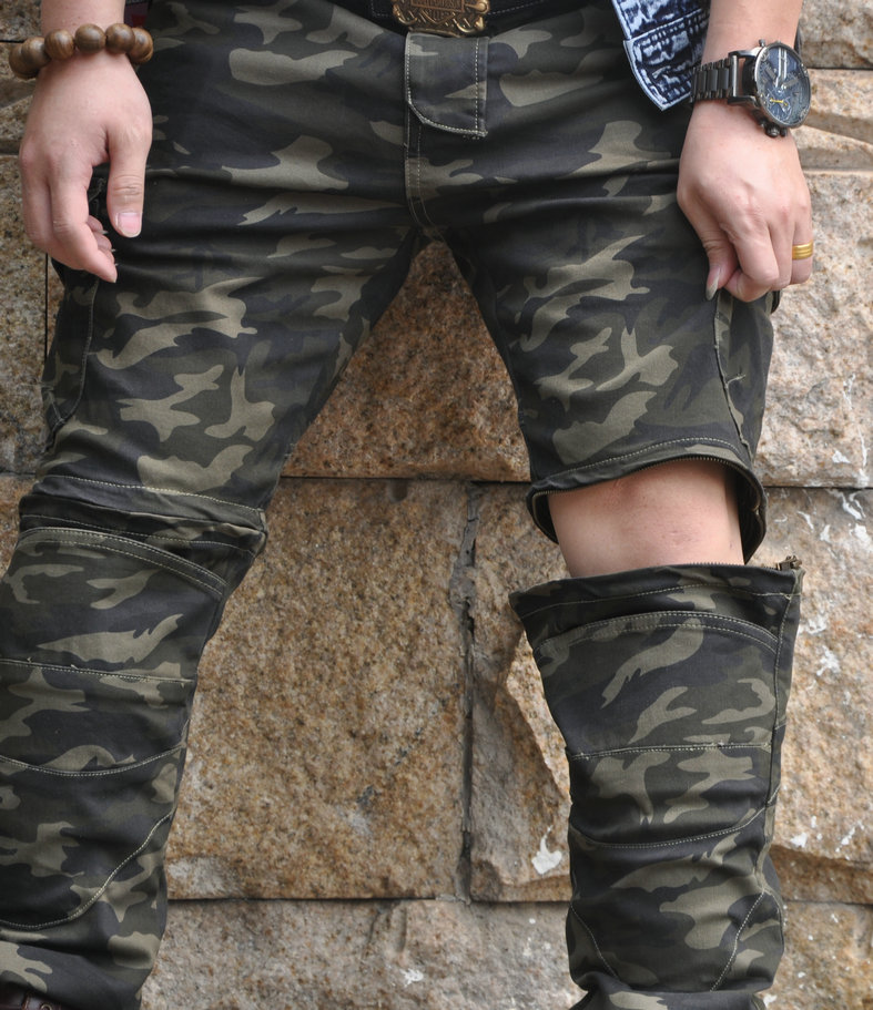 2018 new motorcycle riding jeans, anti dropping trousers, elastic camouflage motorcycle riders, anti falling split jeans, shorts