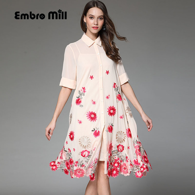 Floral summer women trench coat dress loose ladies embroidery ...