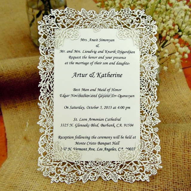 Laser Cut Rose Vine Wedding Invitation Card Insert Envelope Full Set