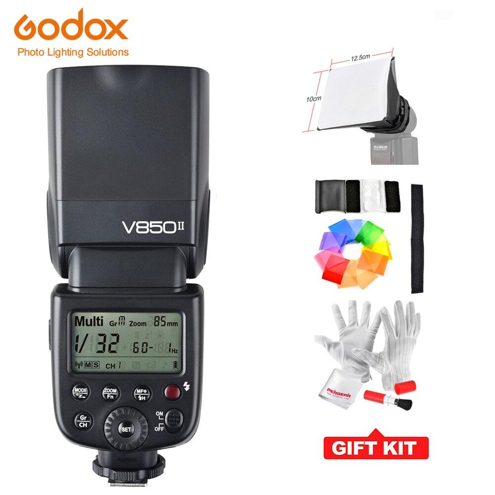 Tüketici Elektroniği'ten Flaşlar'de Godox 2000 mAh Pil Ile Godox V850II GN60 Speedlite 2.4G Kablosuz X Sistemi kamera flaşı Pentax Olympus Canon Nikon