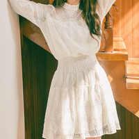 Vestido de encaje Vestidos elegantes verano 2019 Vestido negro de oficina mujeres coreano Mini corto Harajuku blanco una línea túnica Mujer Ropa Mujer