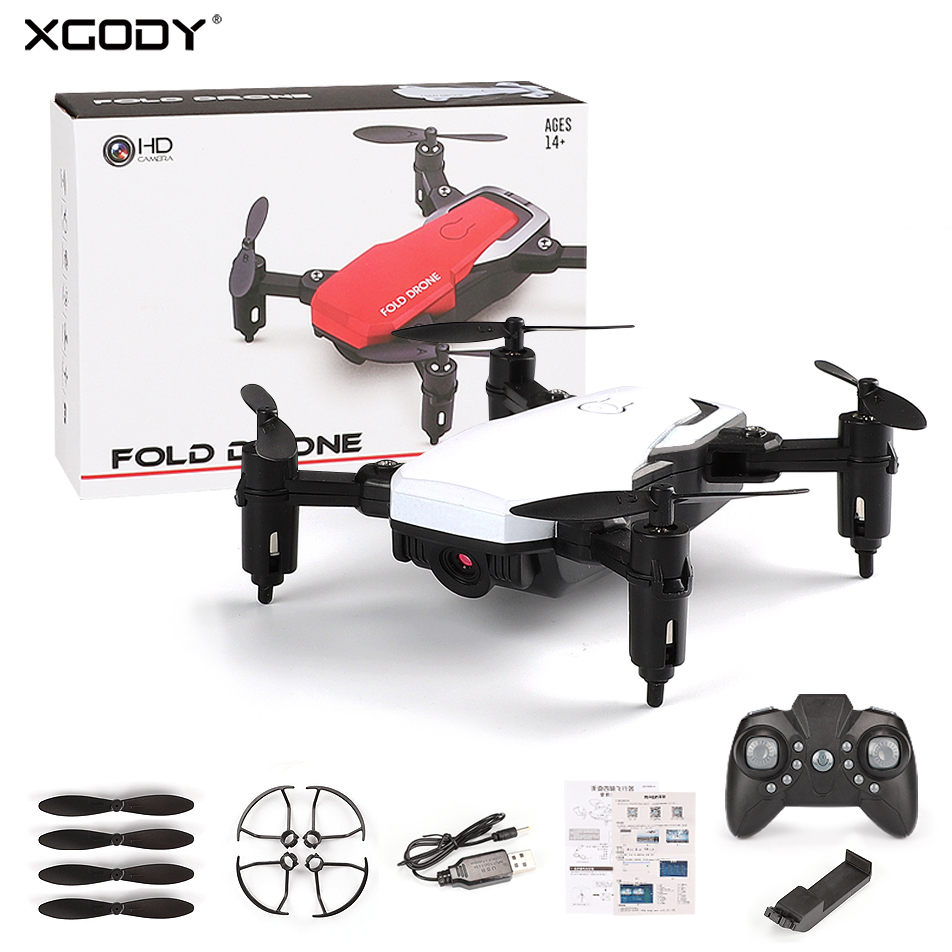 XGODY Mini Folable RC Quadcopter With 720P HD Camera 2.4G WIFI FPV RC Drone 3D Flips