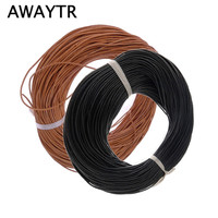 Awaytr 100m 1mm Genuine Real Leather Round Cord String Thread Natural Brown Making Design Jewelry Necklaces
