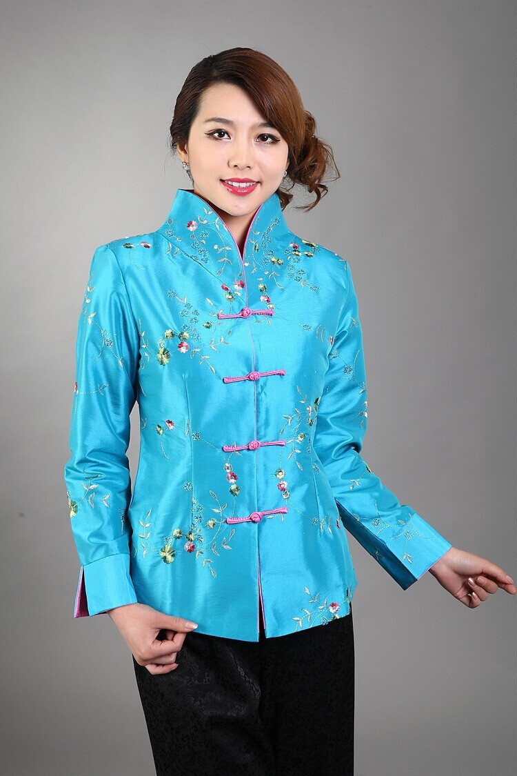 91ab359db Light Blue Traditional Chinese style Women's Silk Satin Embroidery Jacket  Coat Flowers Size S M L XL XXL XXXL Mny02 B-in Basic Jackets from Women's  Clothing ...