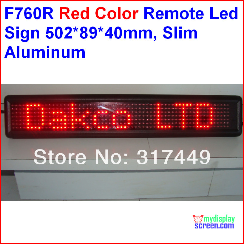 red led sign, Programmable scrolling. semi outdoor/indoor,remote controller,rs232 control,502*89*40mm,7*60 pixel slim aluminum