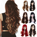 New Girly Long Curly Wavy Synthetic Full Wigs Natural Black Brown Blonde Thick & Soft Hair Wonderful Cosplay Daily Fancy Dress