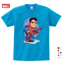 boys clothes Summer Cartoon superman Spiderman Captain America Print Tee Tops For Boy Girls Clothing Funny white T-shirts 3-12