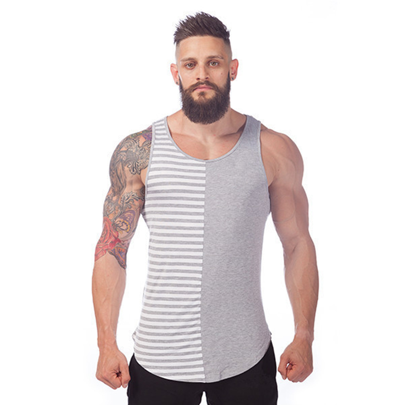 c1474cfdc3d16d Luxe stripe tank top men tank tops cotton singlet fashion top tank men  sleeveless top tees