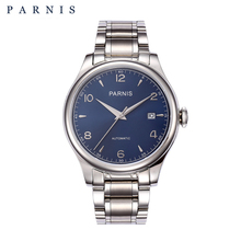 PARNIS 38mm Mechanical Watches Full Stainless Steel 18k Gold
