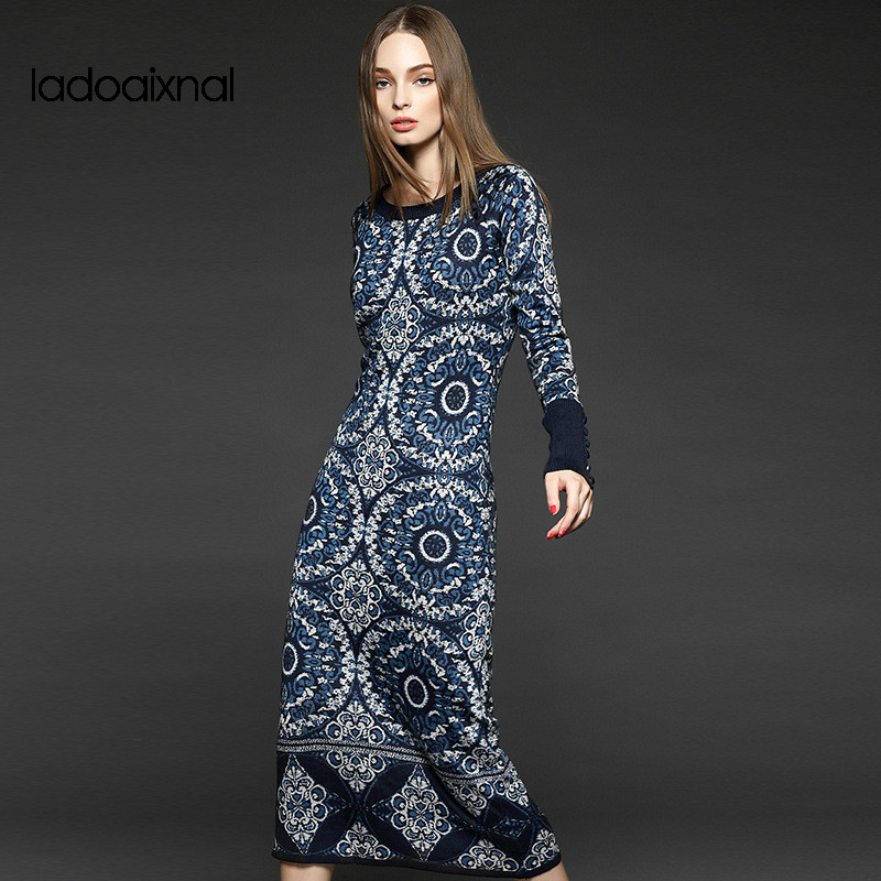 Iadoaixnal High qulity O-neck autumn and winter new knitted dress Full sleeve boutique women's Jacquard long maxi sweater dress iadoaixnal knitted patchwork floral print belt slim full sleeve women dress summer o neck asymmetrical vintage female long dress