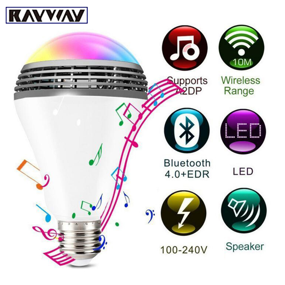 Wi fi inteligente rgb e27 lâmpada bluetooth 4.0 alto-falantes de áudio lâmpada pode ser escurecido led música sem fio lâmpada luz mudando a cor via wifi controle app