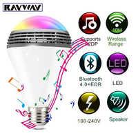 WiFi inteligente RGB E27 bombilla Bluetooth 4,0 altavoces de Audio lámpara regulable LED inalámbrico música bombilla cambio de Color a través de WiFi control de la aplicación