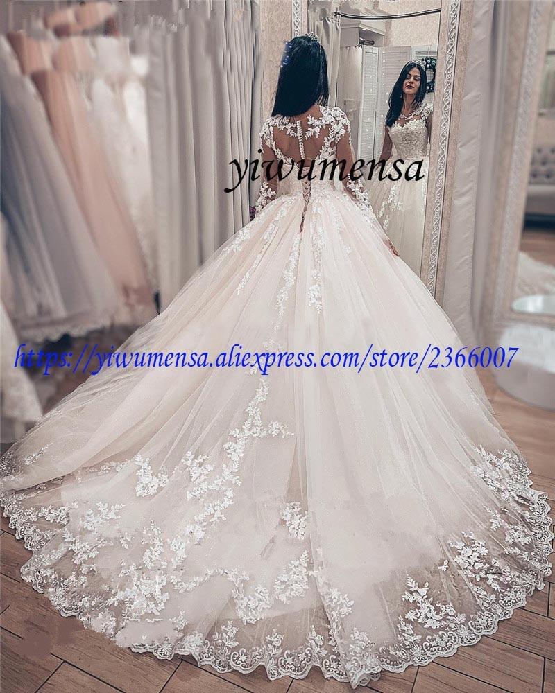 Vestidos De Novia Plus Size Wedding Dress Boho Luxury 2019 Long Sleeves Appliques Lace Ball Gown Wedding Dresses Bridal Gowns