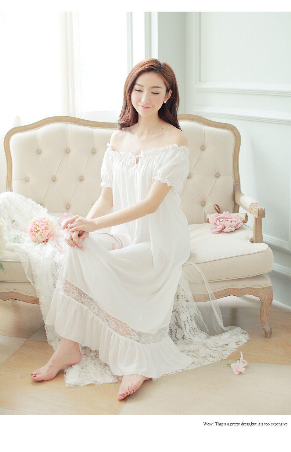 low priced 2fdd7 aecb4 2018 Frauen Nachthemden Lolita Cotton Home Kleidung lange Nachthemd Spitze  Rüschen Nachtwäsche Homewear Vintage Prinzessin Sleep