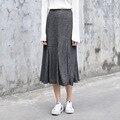 Yichaoyiliang Women Grey Knitting Pleated Skirt Spring High Waist Slim Black A-line Midi Skirt Long Skirt Ruffles Hem