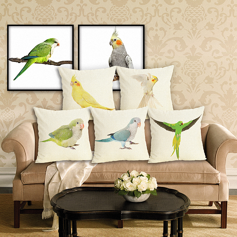 45x45 Green Parrot Housewear HD Bird Chair Cushion Cover Soft Pillow Case Cojines Almofadas Cotton Linen Square