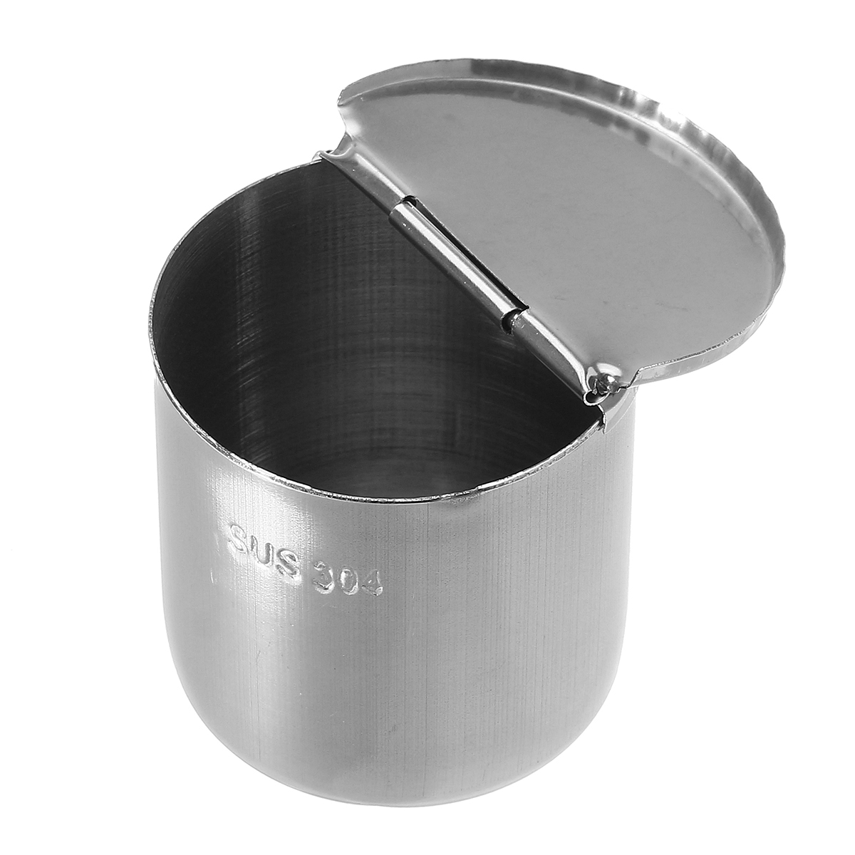 1pc Medical Cotton Alcohol Disinfection Jar Half Clamshell Oral Ointment Cylinder Tank Holder Stainless Steel Dental Material