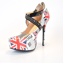 Design Of The Flag Of The United States Comfortable Ladies Dress Pumps Sexy Fashion Cheap Girls Shoes The Latest High Heels 2015