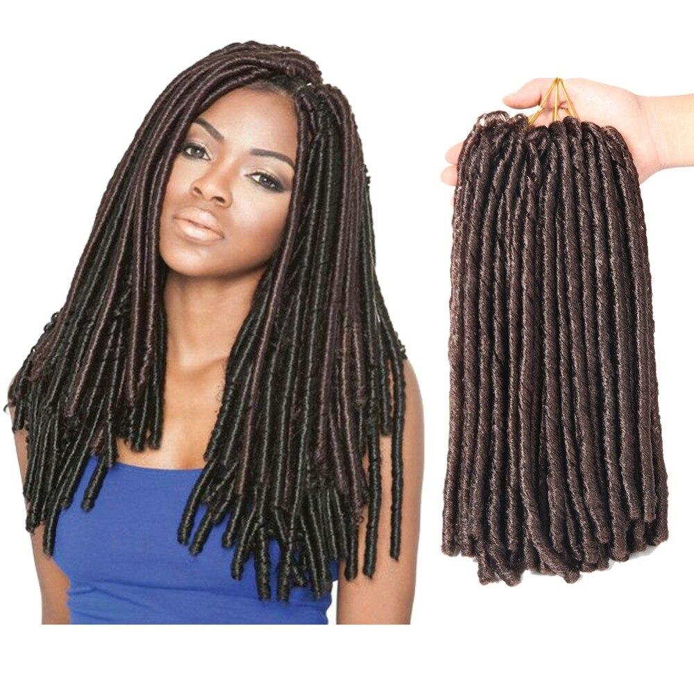 SAMBRAID Soft Dreadlocks Crochet Braids 14 Inch Crochet Hair Pure Color 30 Roots/pack Burgundy Synthetic Braiding Hair For Women