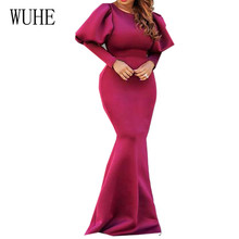 WUHE High Quality Space Layer Large Dress New Lantern Sleeve Bodycon Bandgae Women Elegant Formal Banquet Party Dresses