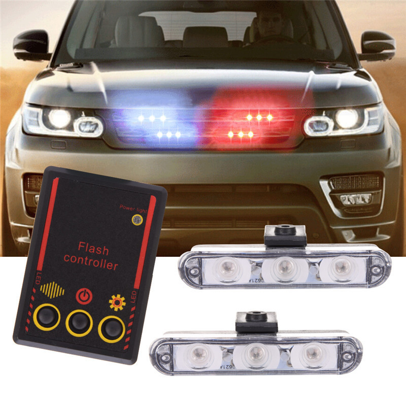 Newest 2x3 Led Ambulance Police Strobe Light Red Blue Car Truck DRL Emergency Flashing Firemen DC 12V Auto LED Warning Day Light police style car dc 12v 96 led red blue stroboscopic light with 3 mode controller