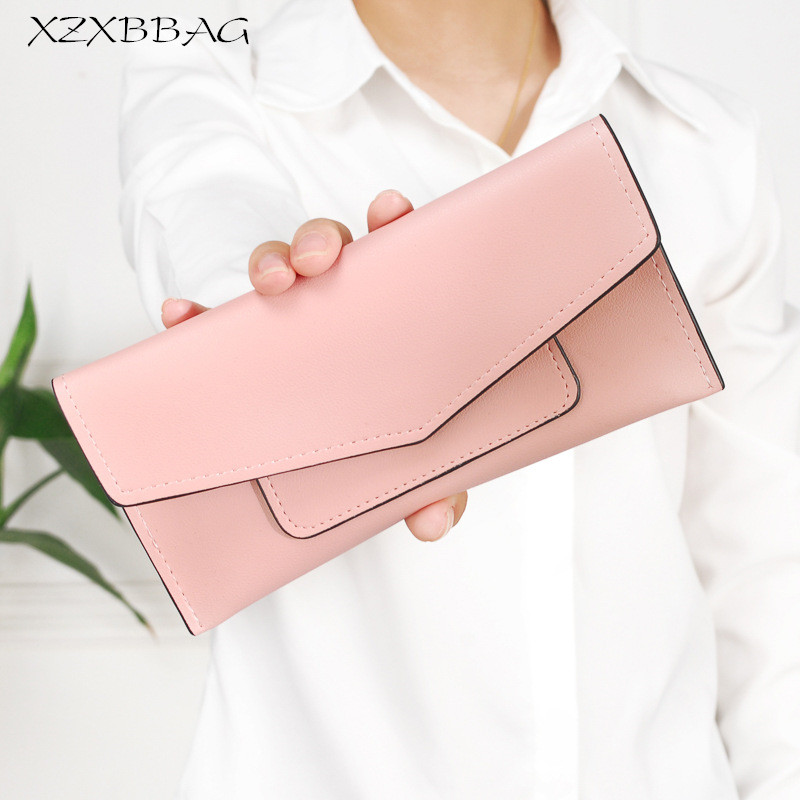 XZXBBAG 2017 Fashion Women Long Envelope Wallet Pure Color Hasp Thin Coin Purse Ladies Frosted Leather Money Bag Female Handbag xzxbbag fashion female zipper big capacity wallet multiple card holder coin purse lady money bag woman multifunction handbag