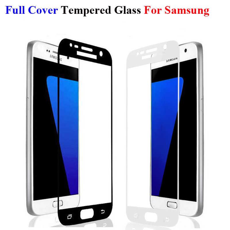 غطاء كامل اللون الزجاج المقسى لسامسونج غالاكسي S3 S4 S5 S6 S7 J5 J7 رئيس A5 A7 2016 A3 2017 واقي للشاشة فيلم