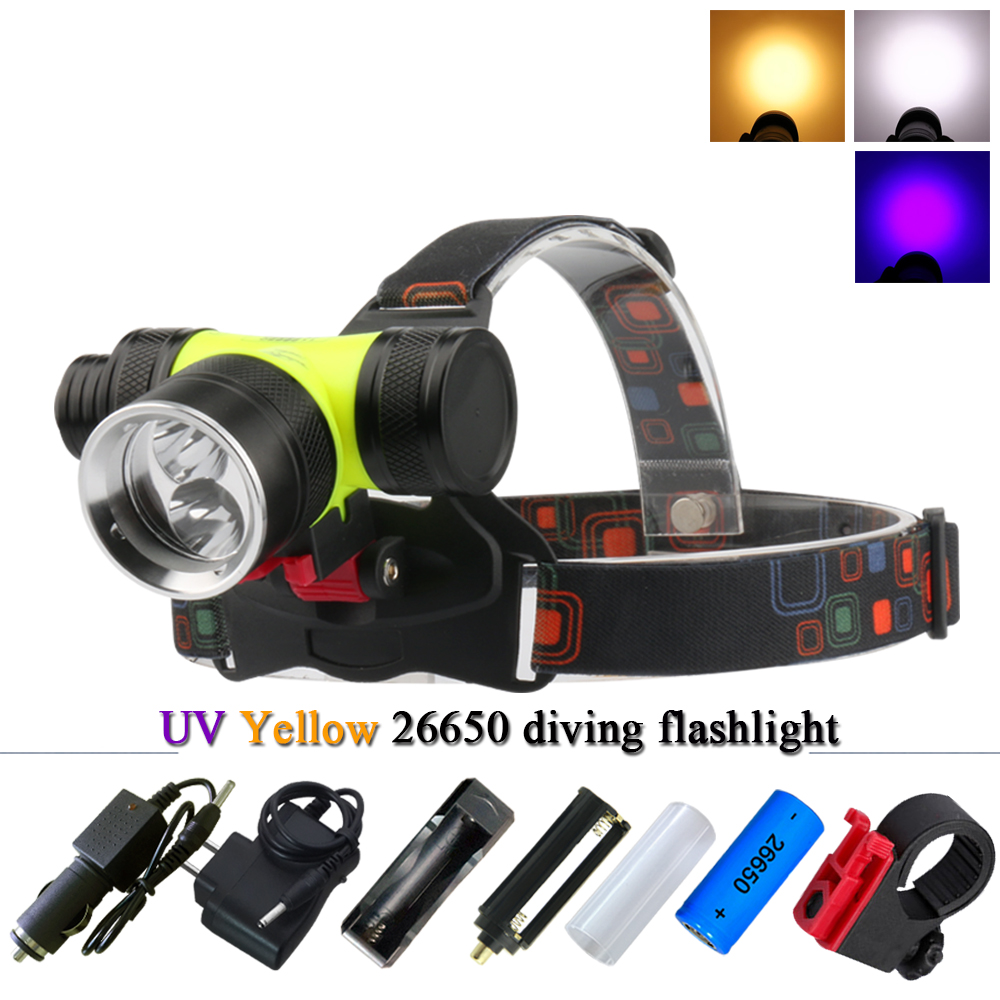 Diving L2 Head Lamp Xml T6 Led Headlamp 26650 Or 18650 Rechargeable Waterproof Head Torch Led Headlight Underwater Fishing Light