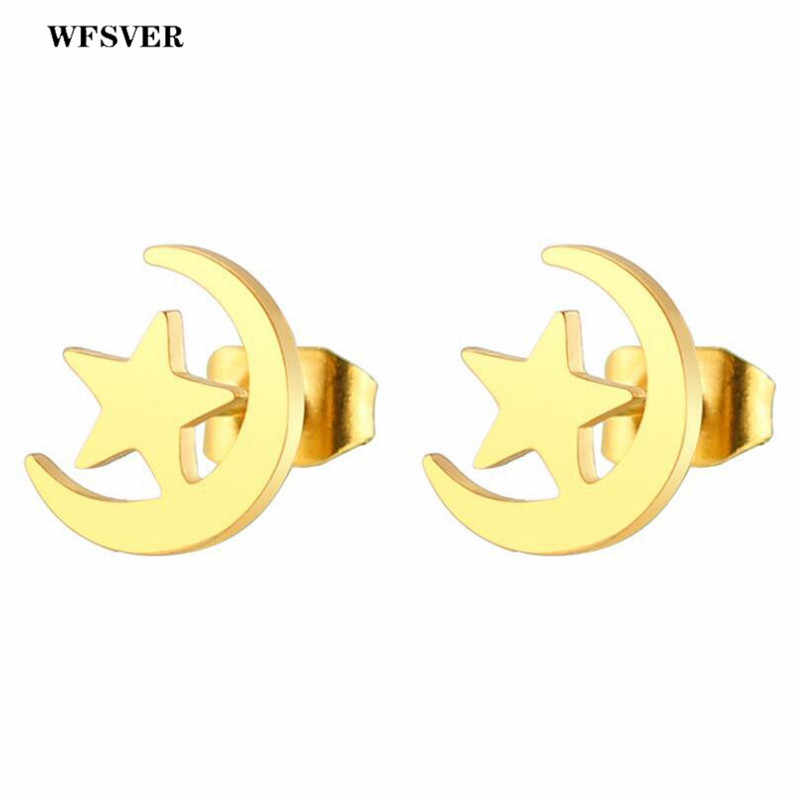 WFSVER Star Moon Earrings For Women Men Black/Gold/Silver/Rose Gold Stainless Steel Stud Earring Fashion Jewelry Gift