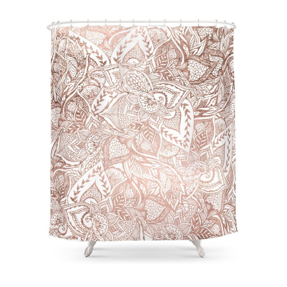 Rose Gold Floral Mandala Pattern Shower Curtain Waterproof