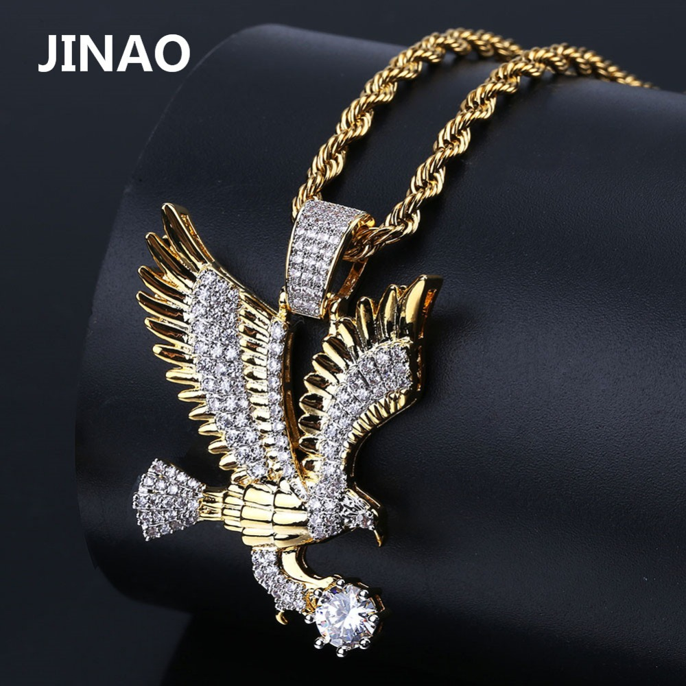 5be1cf035546 JINAO hombres moda Iced Out oro Color plateado Animal Eagle Wing Charm  colgante Micro Pave Zircon joyería de Hip Hop
