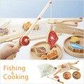 Nueva Candice puzzle Juguetes De Madera de Pesca Magnética de Madera Tableros/Cocina 2 En 1 Juegos de Imaginación Montessori Bebé Niños regalo