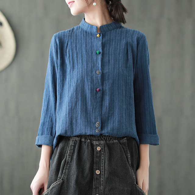 dcee1e78 Johnature Striped Shirts Vintage Women Tops Linen Chinese Style Spring  Blouses Long Sleeve Stand Casual 2019 New Women Cloths