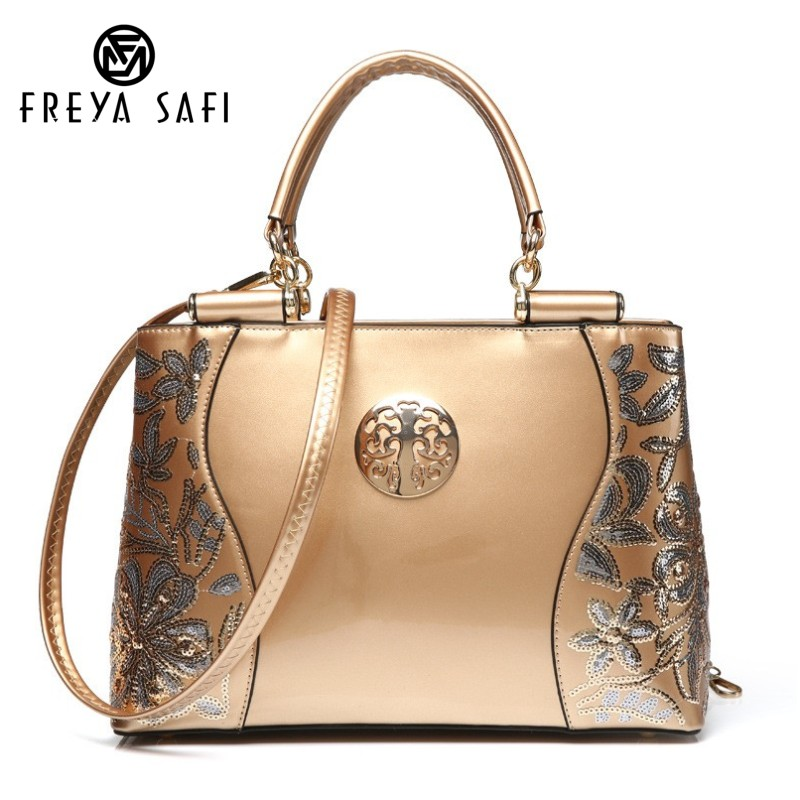 Freya Safi Luxury Fashion Women Bag Embroidery Sequined Chains Patent Leather Famous Brand Shoulder Handbag Ladies