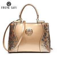 Freya Safi Luxury Fashion Women Bag Embroidery Sequined Chains Patent Leather Famous Brand Shoulder Handbag Ladies Messenger Bag