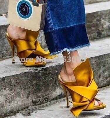 Douce grande fille nœud papillon sandales soie Satin tissu robe noeud papillon chaussures à talons hauts sans lacet pantoufles chaussures de mariage