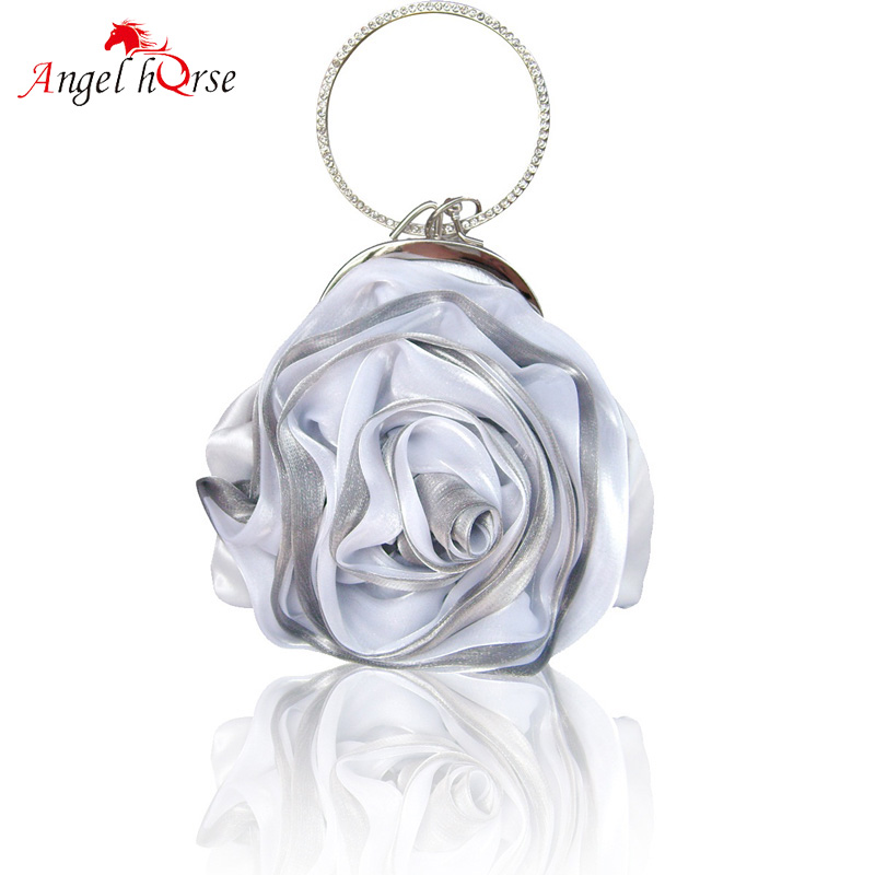 Angel Horse Mini Bag Rose Fashion Evening Handbag Bag Silk Lace Women Handbags Luxury Female Bag For Cellphone Keys Ladies Purse