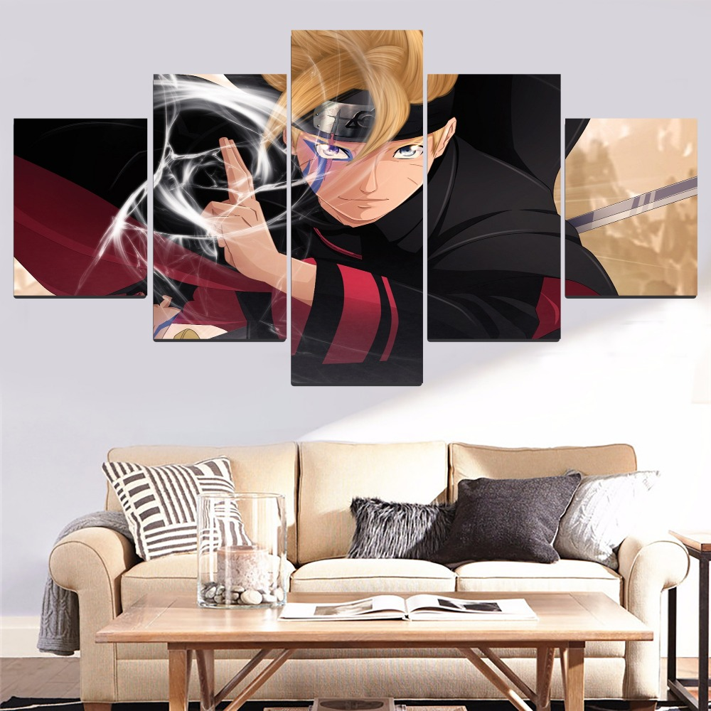 Modern Painting Top-Rated Canvas Print Wall Art Modular Pictures 5 Pieces Anime Boruto Artwork Home Decorative Living Room image