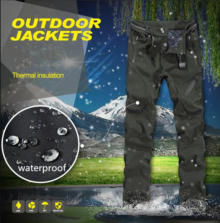 Autumn winter Mens Fleece warm pants outdoor sport Camping Hiking Softshell pants men Fishing Waterproof trousers plus size 8XL