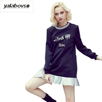 Yalabovso 2017 Autumn New Arrivals Paillette Dress Loose Irregular DRESSES With RUFFLES For Woman A50 A6526