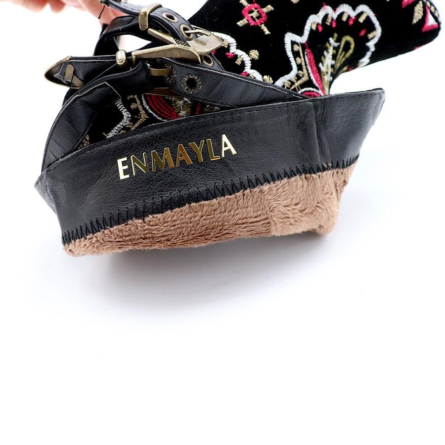 LAIJIANJINXIA/Новинка; красивые женские ботинки; ботильоны из искусственной кожи; туфли лодочки с шипами и пряжкой на толстом высоком каблуке; обу... - 5