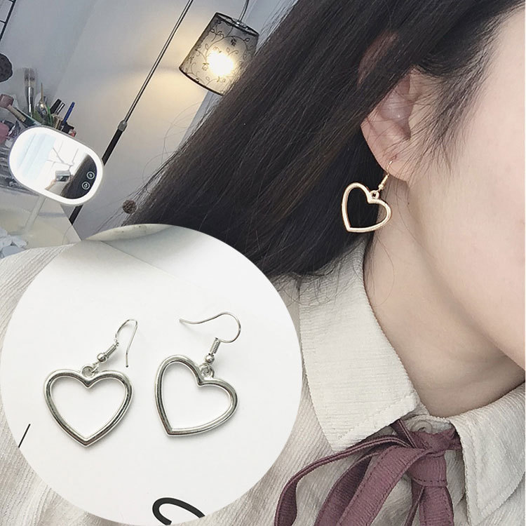 Japanese Harajuku Soft Cute Girl Hollow Geometric Heart Shape Sweet Gold Love Earrings