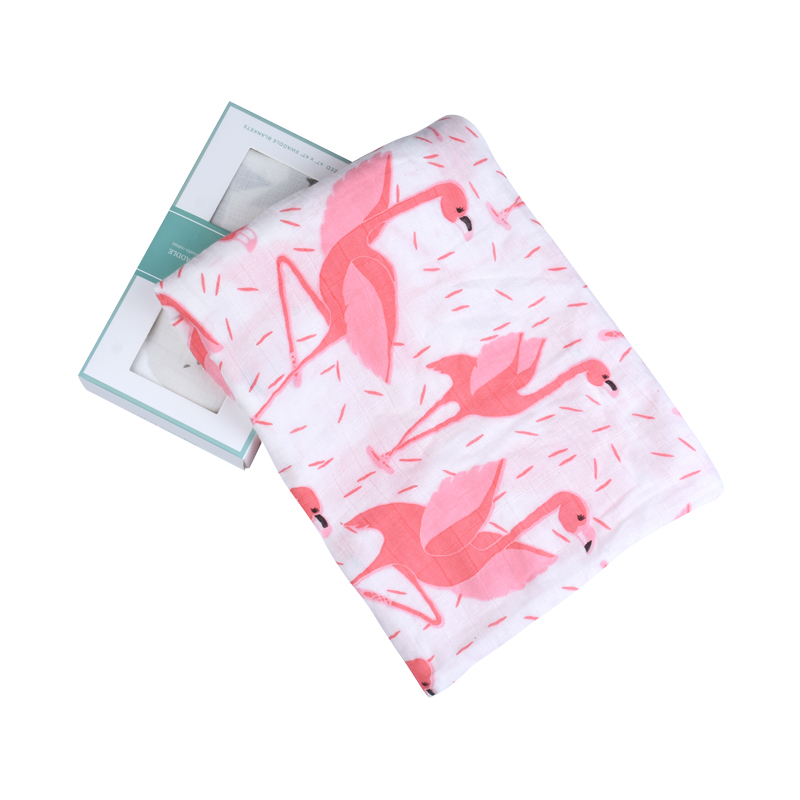New Style Boxed Flamingo Bamboo Muslin Cotton Baby Swaddles For Newborn Baby Blankets 47*47 inch Baby Gift Sets