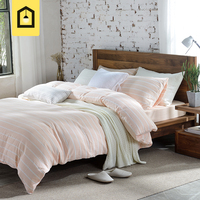 Brand High Quality 100 Cotton Bedding Sets 4 Pieces Brief Style Green Pink Striped Duvet Cover