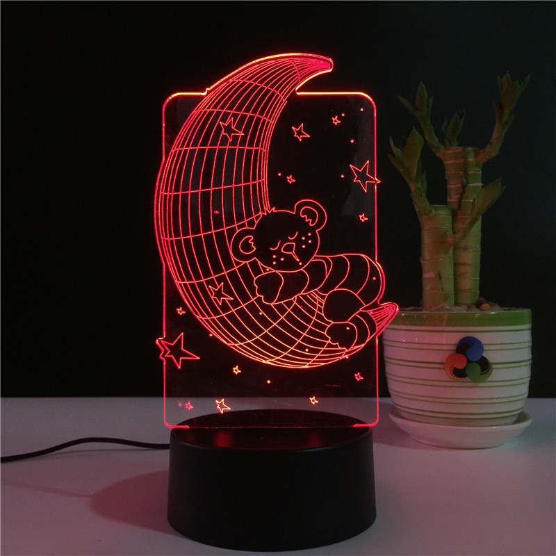 2019 Latest Moon Bear 3d Usb Bedroom Bedside Lamp Stereo Vision 7 Colors Changing Acrylic Night Light Creative Desk Light