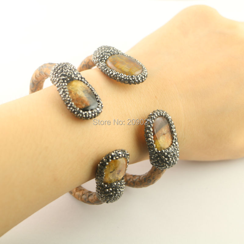 New Unisex ~ 5Pcs Pave Rhinestone Crystal Stone Leather Cuff Bangles in brown color Jewelry Finding