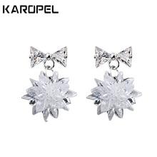 Romantic Fashion Snow Ice Flower CZ Zircon Crystal Stud Earrings for Women Jewelry Gifts