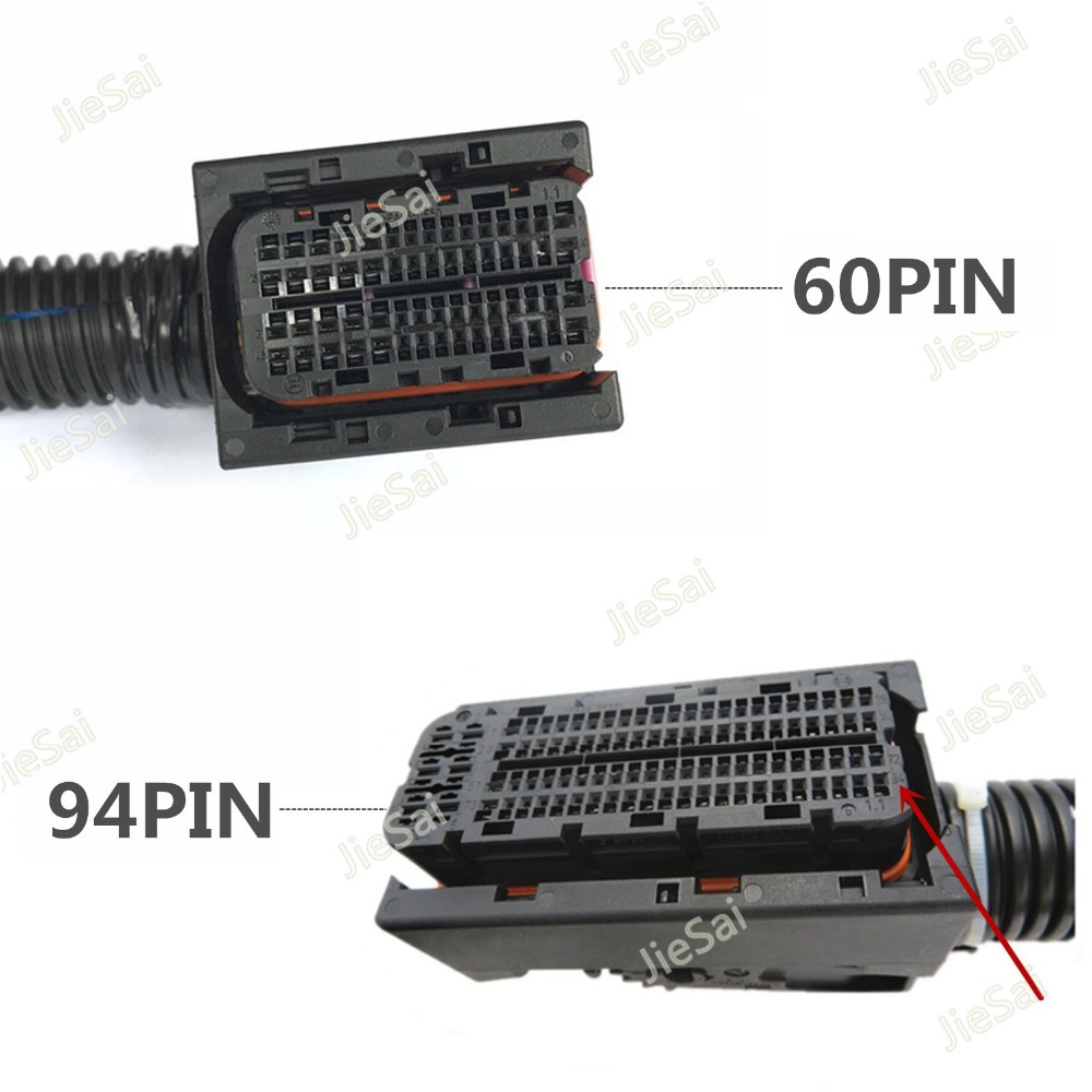 EDC17 EDC16 Automotive 94Pin 60Pin ECU Plug PC Board Socket With Wiring Harness Common Rail Connector