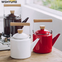 1pcs 2.2L Enamel Coffee Pot Hand Tea Kettle Induction Cooker Gas Stove Universal WSHYUFEI
