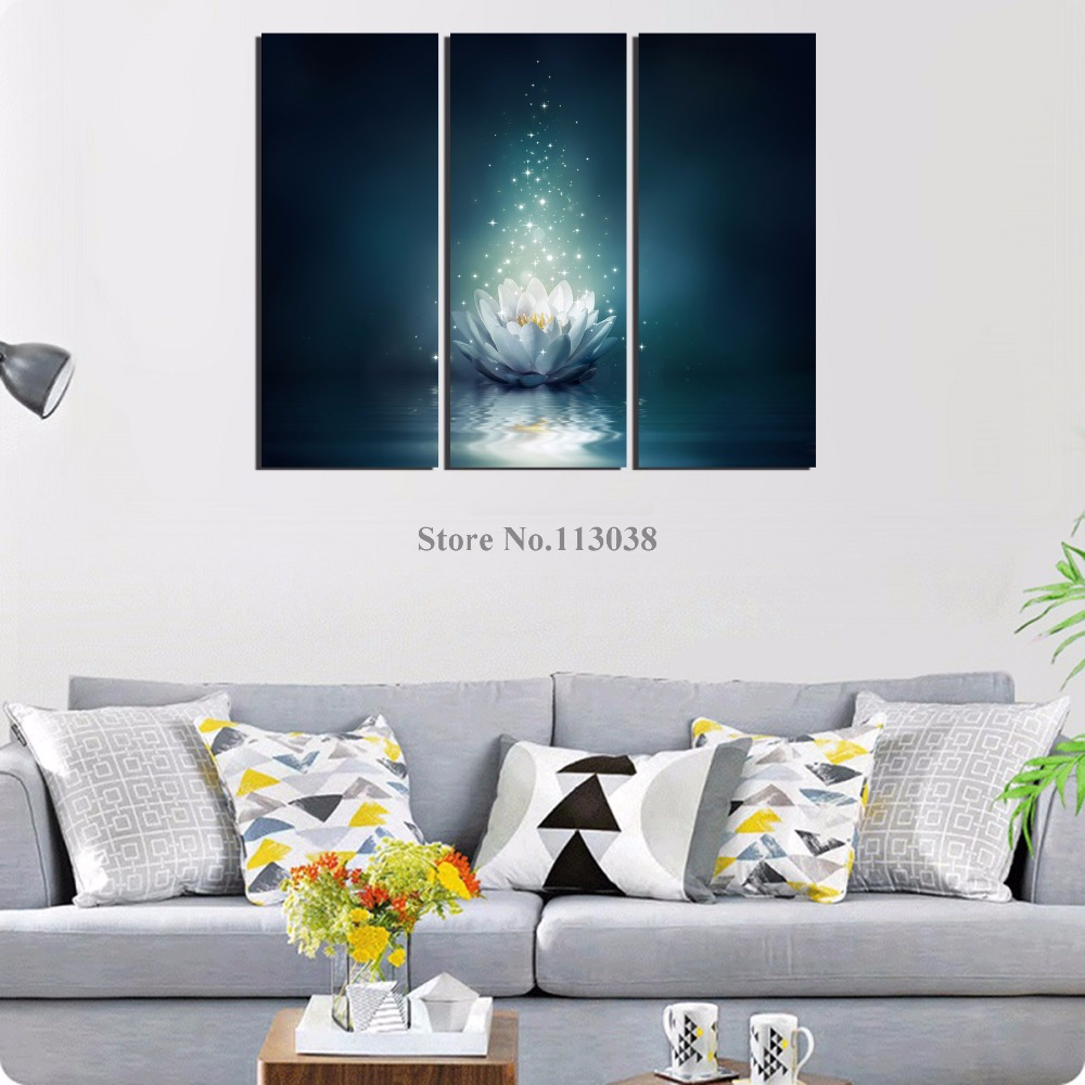 Modern 3 Pieces White Lotus Printed Canvas Painting Living Room Wall ...